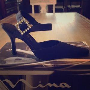 Nina black dressy heels with rhinestone buckle